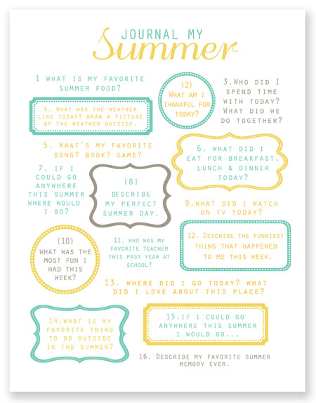 5 Images of Printable Summer Journal Prompts
