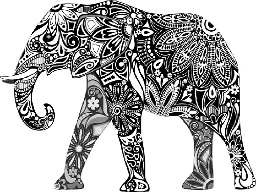 Tribal Print Elephant Coloring Pages