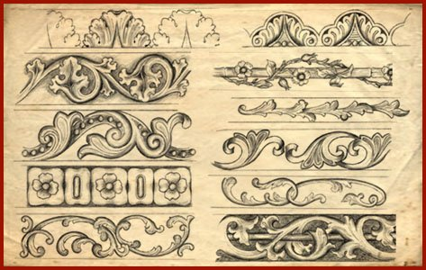 4 Images of Printable Wood Carving Patterns