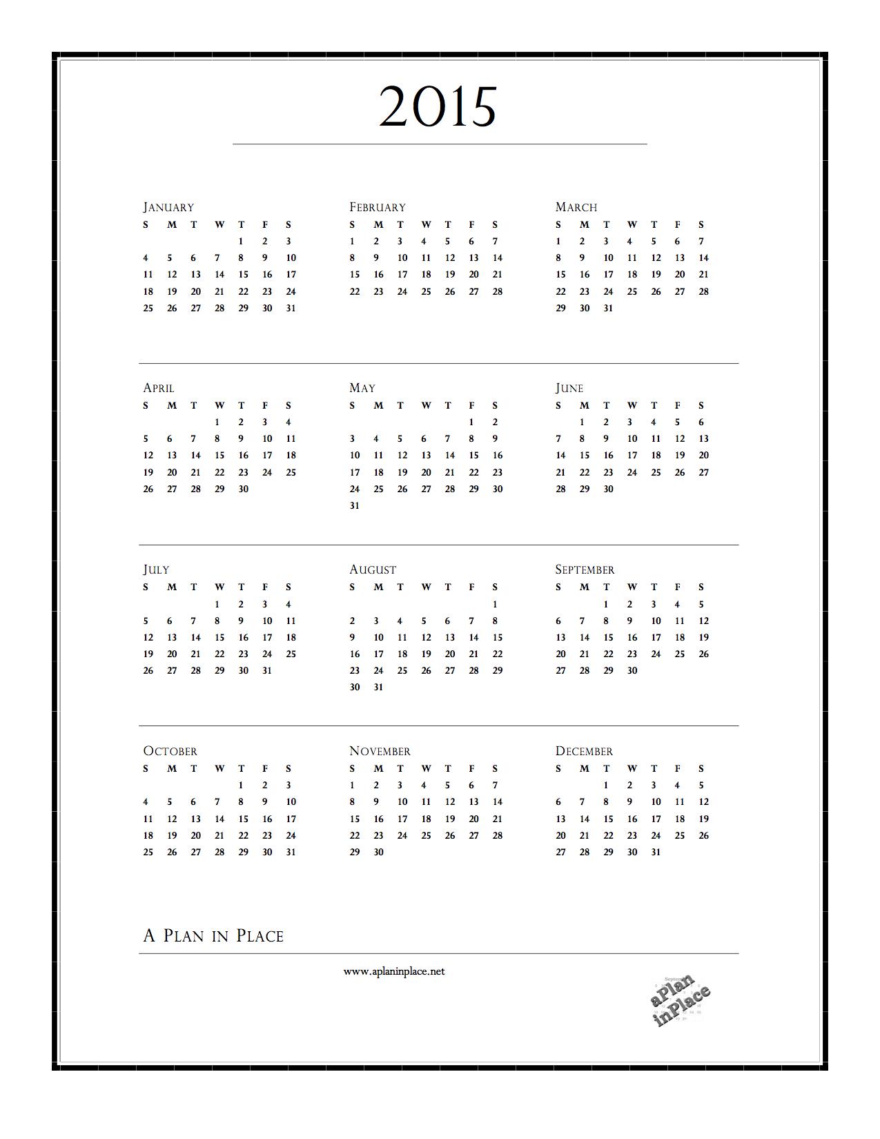 2015 Year at a Glance Printable