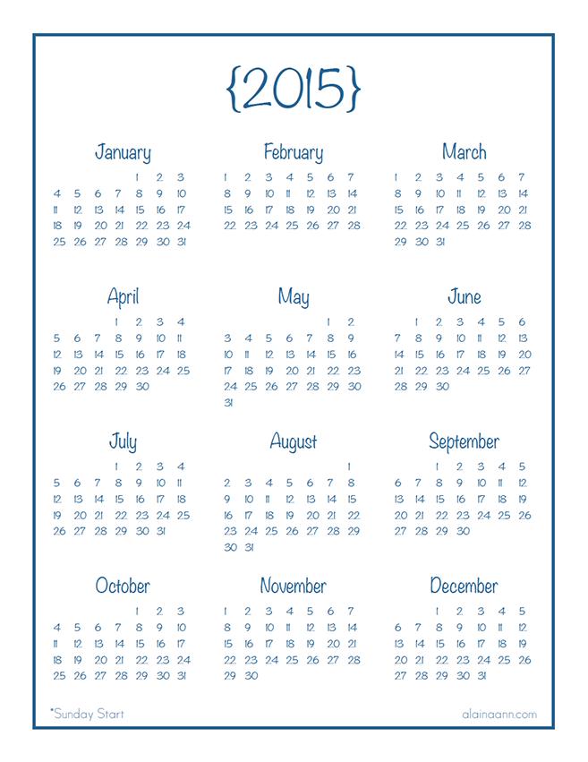 2015 Year at Glance Calendar Printable