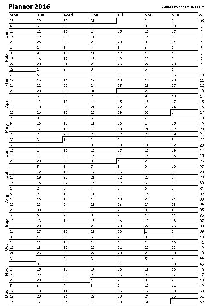 2016 Calendar Printable Year Planner