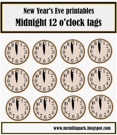 8 Images of New Year's Eve Clock Printables