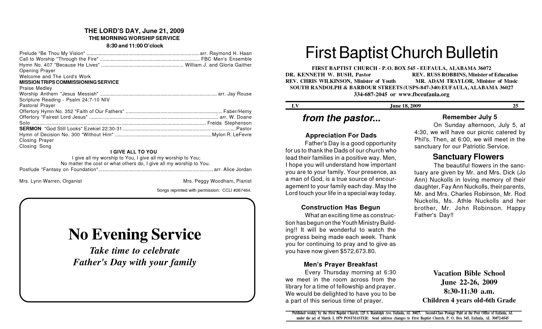 8 best images of church bulletin templates free printable for Sample church bulletins templates