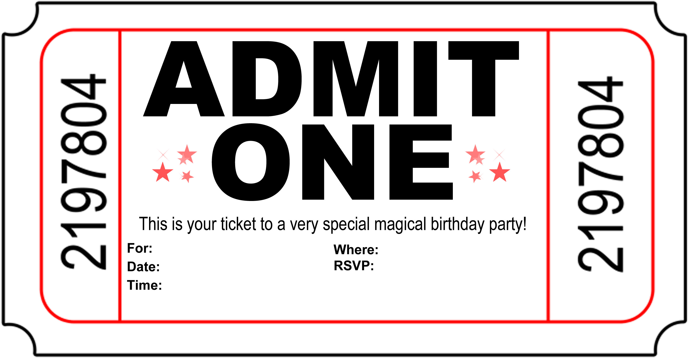 8 Images of Free Printable Ticket Invitations Templates