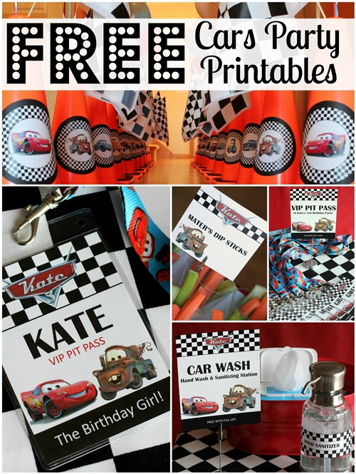 7 Images of Cars Themed Birthday Party Printables