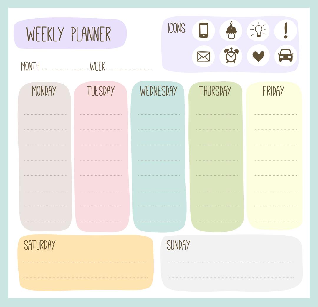 Cute Printable Weekly Planner Calendars