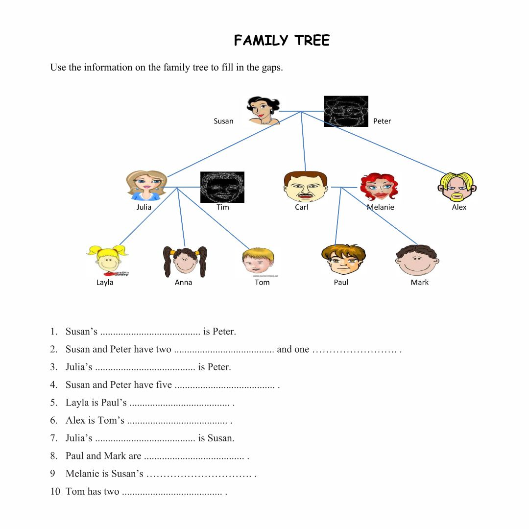 My family tree free printable worksheets