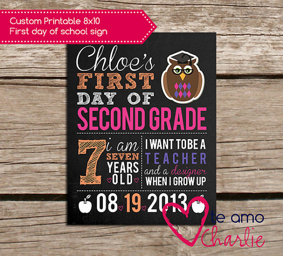 8 best images of 1st day of school free 8 x 10 printables for First day of school sign template