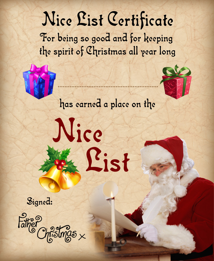 6 Images of Free Printable Santa Nice List Certificate 2014
