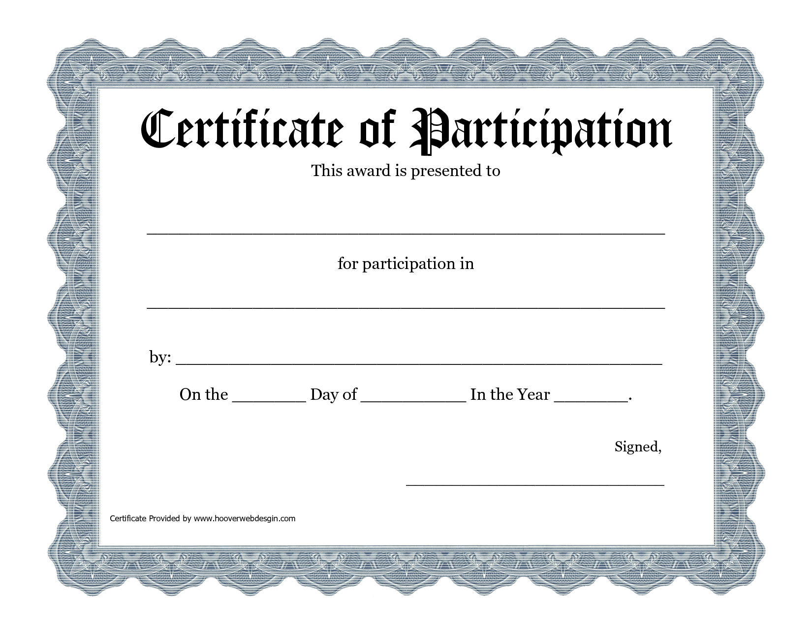 5 Images of Printable Participation Certificate Templates