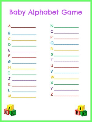 6 Images of Free Printable Baby Shower Alphabet Game