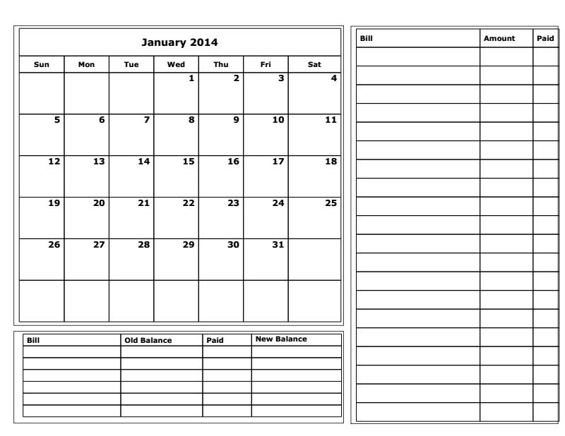 Free Printable Budget Calendar 2014
