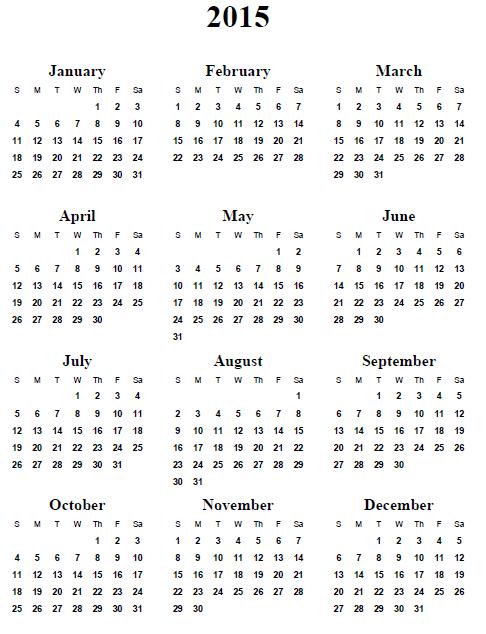 Free Printable Com Yearly Calendars 2015