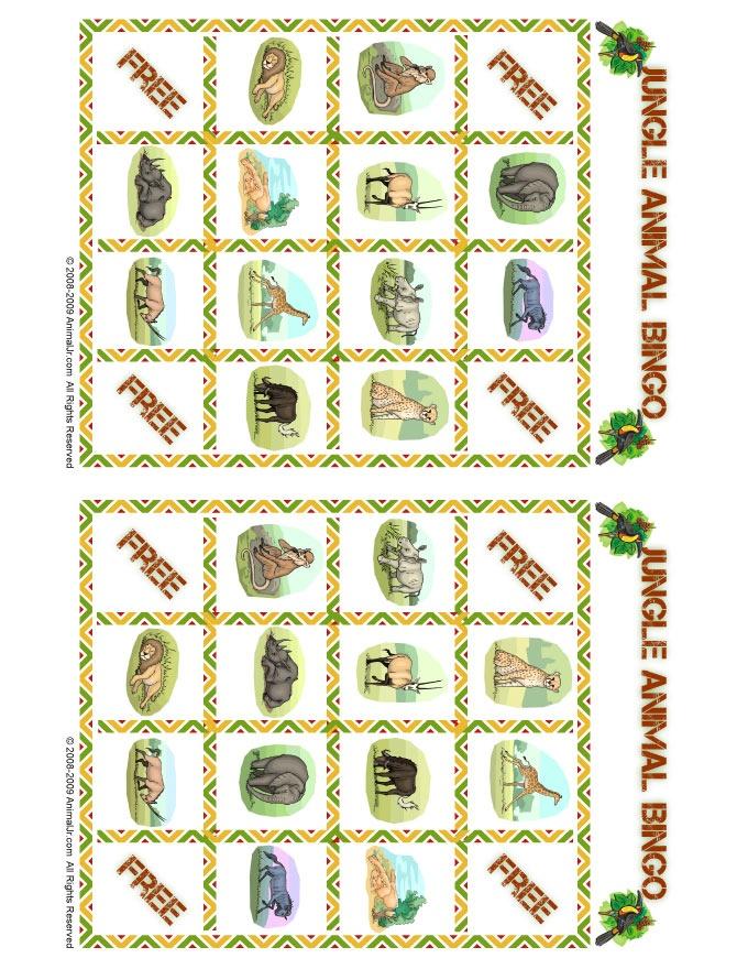 7 Images of Jungle Bingo Printable