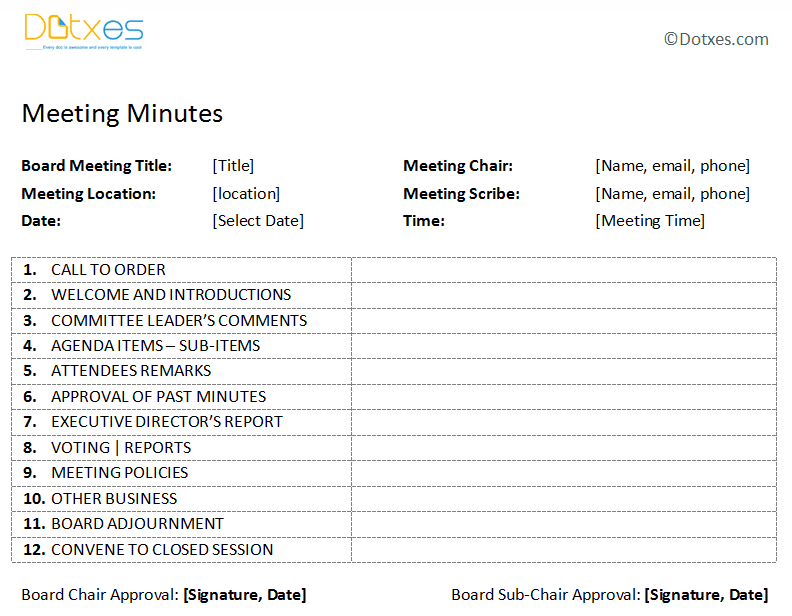 4 Images of Printable Meeting Minutes Template