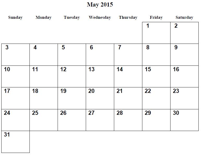 See Free Large Printable Calendar, May 2015 Calendar Printable PDF ...