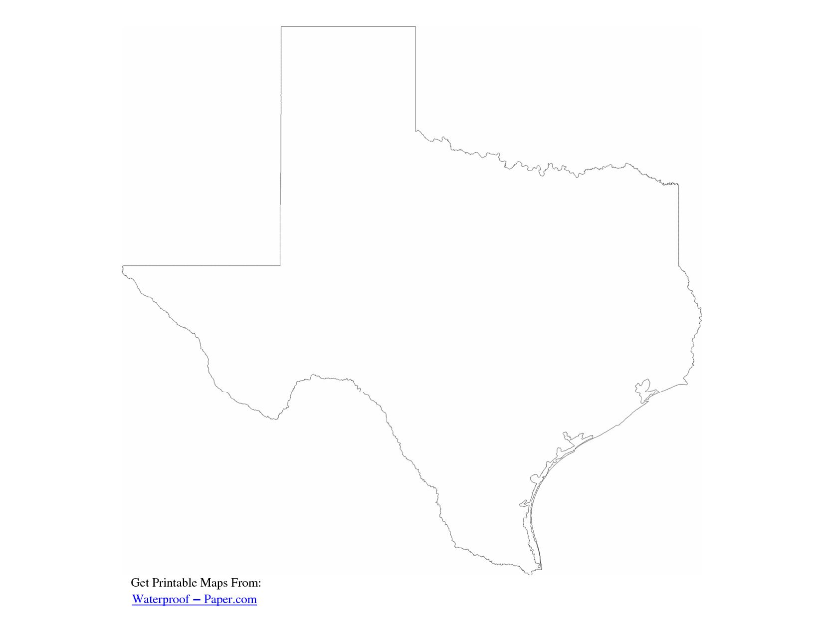 Free Printable Texas Map Outline