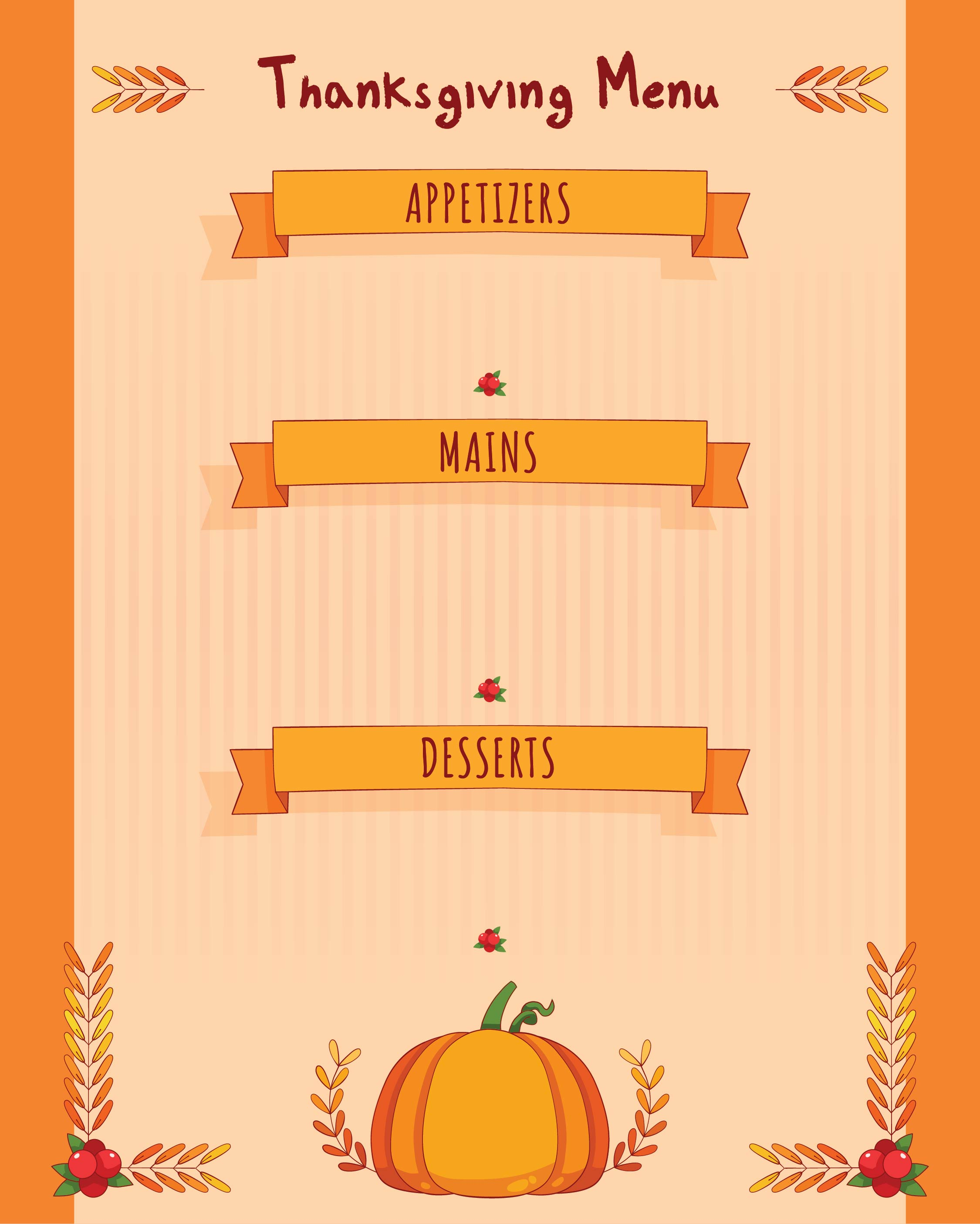 6 best images of free printable thanksgiving menu thanksgiving menu planner printable free. Black Bedroom Furniture Sets. Home Design Ideas