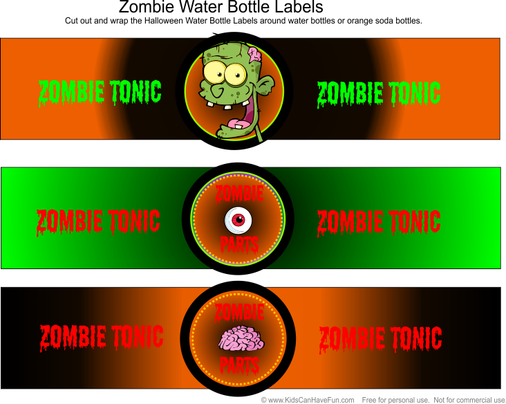 5 Images of Zombie Bottle Labels Printable