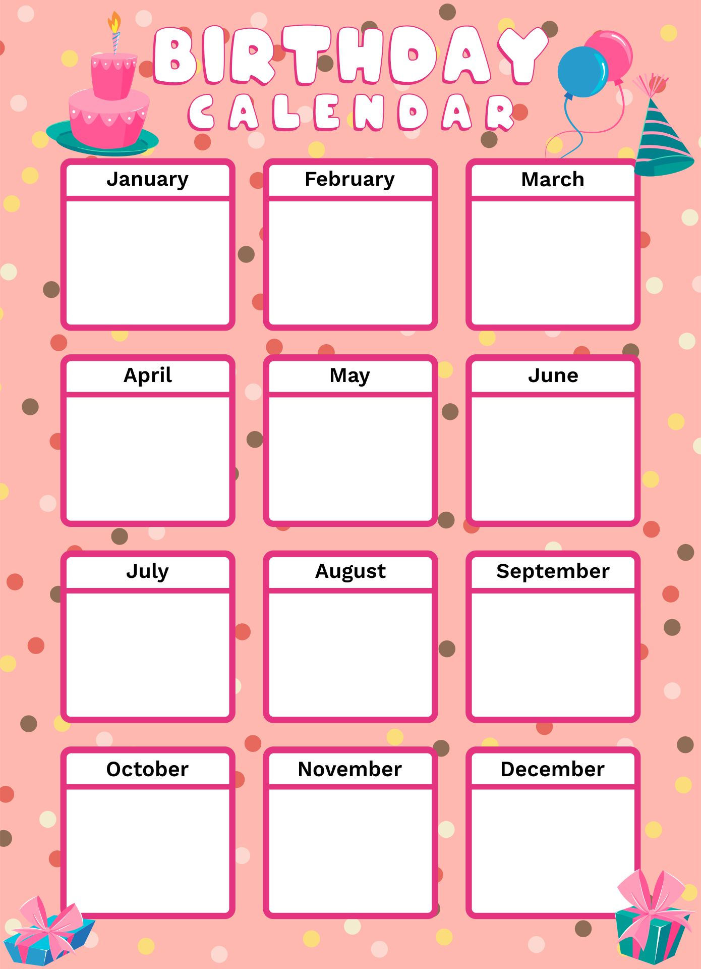 4 Images of Printable Birthday Calendar Cupcakes