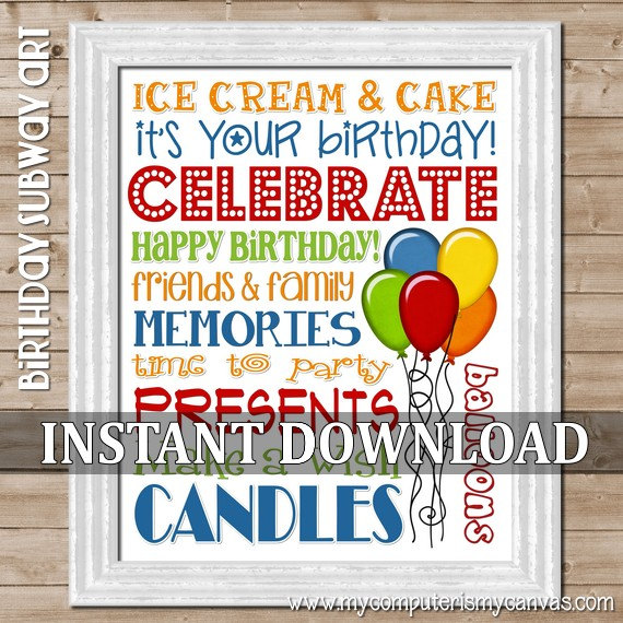 Happy Birthday Subway Art Printable