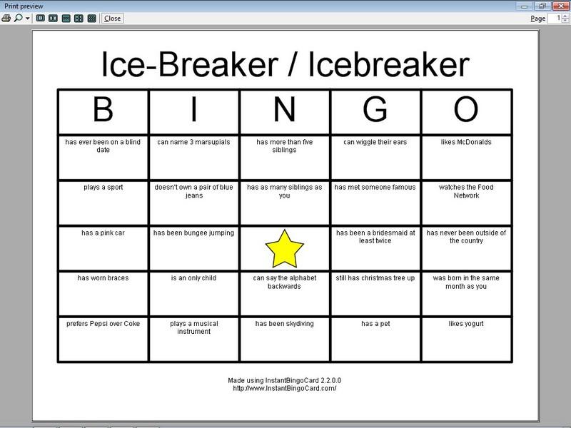 8 Images of Printable Full Page Bingo Icebreaker