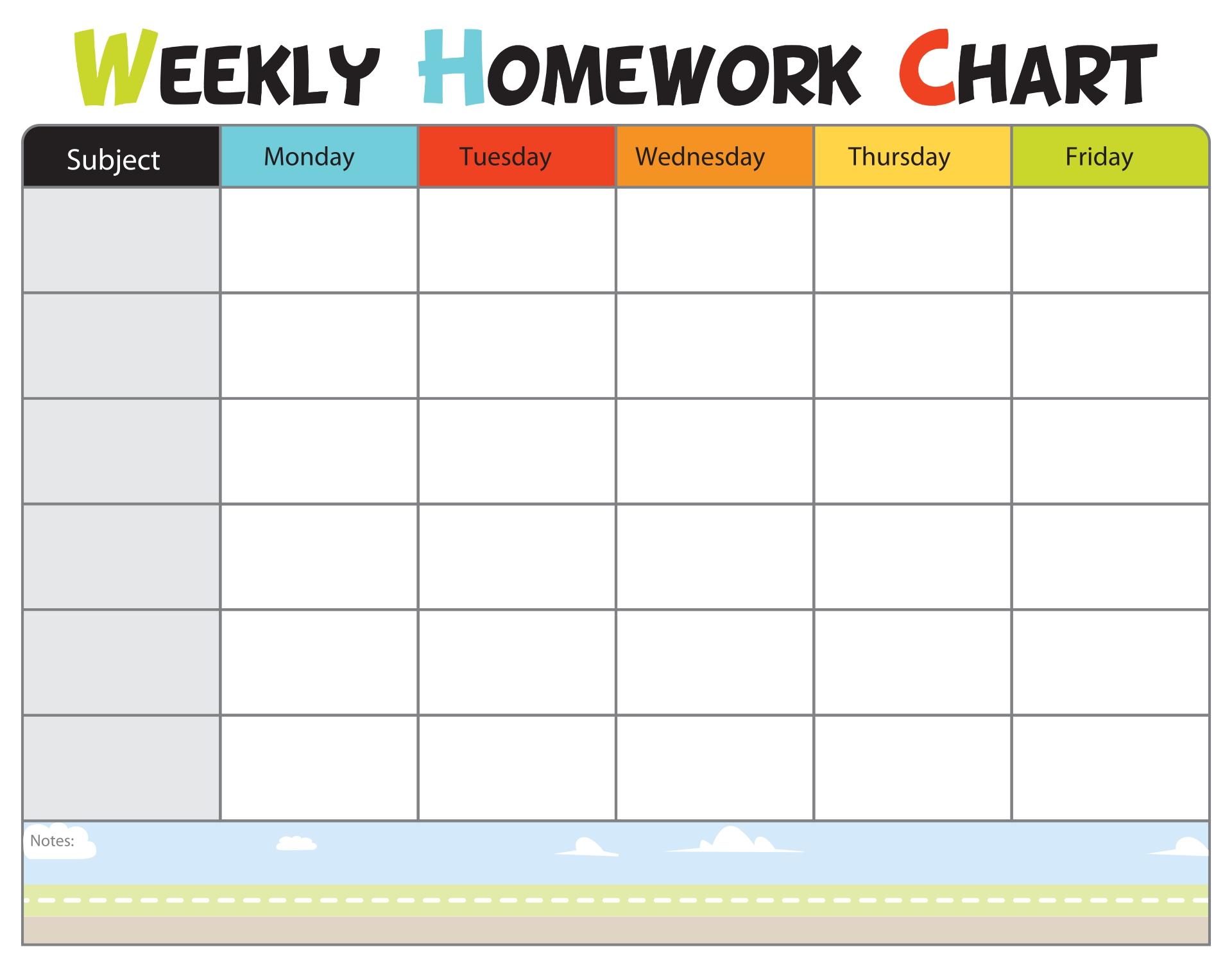 Kids Homework Chart Printable