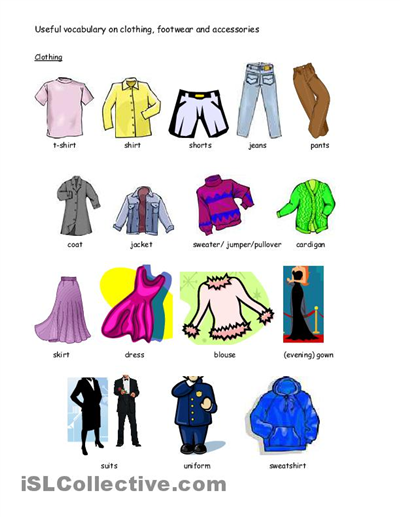 ... Printables for Kids, Spanish Clothing Vocabulary Worksheet and List