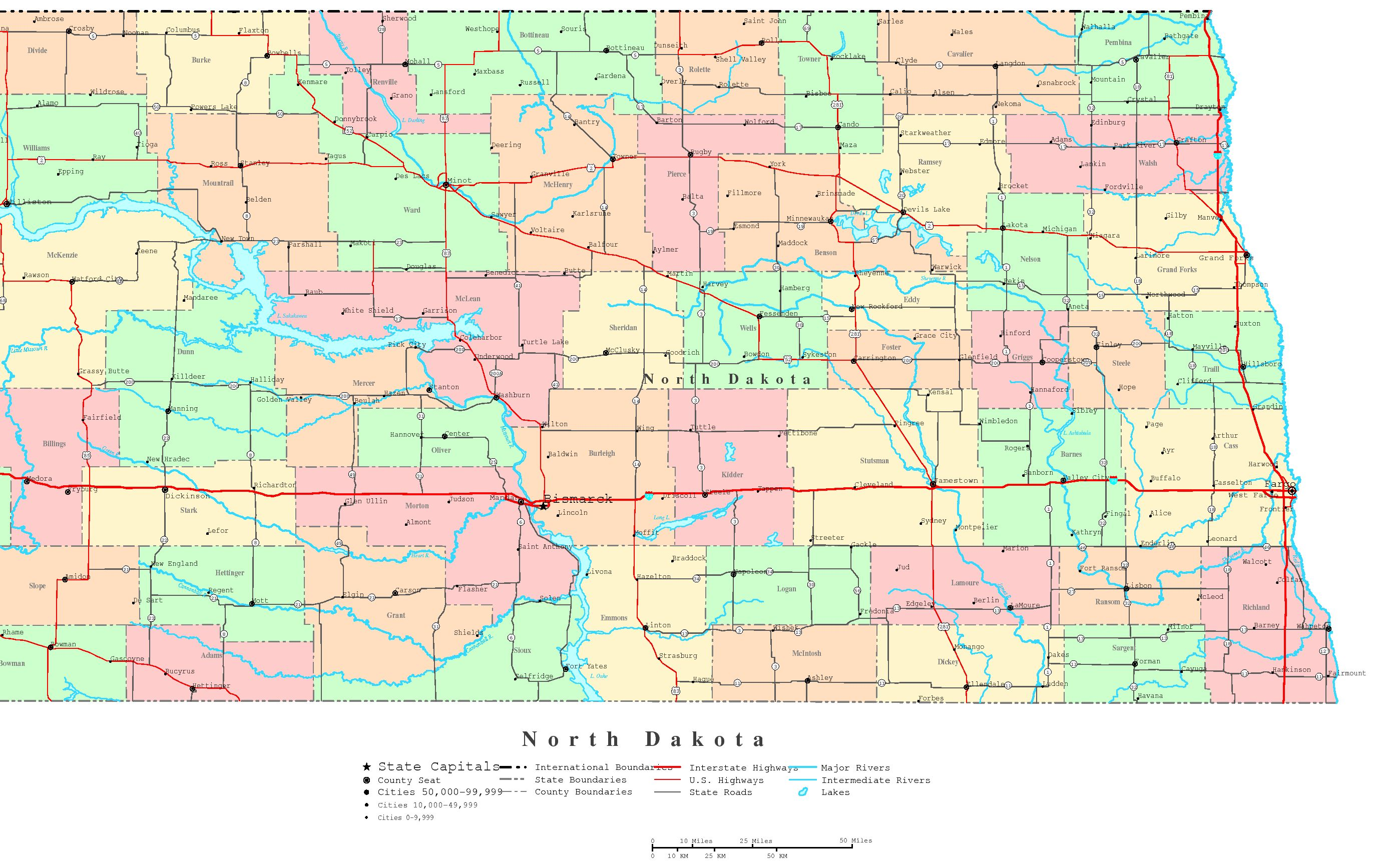 5 Images of Printable Map Of North Dakota