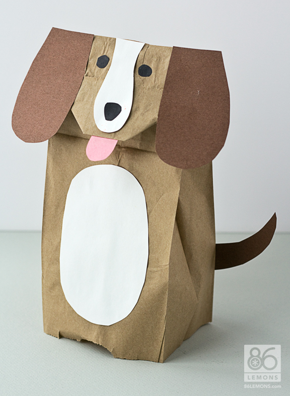 6 Images of Printable Paper Bag Dog Puppets