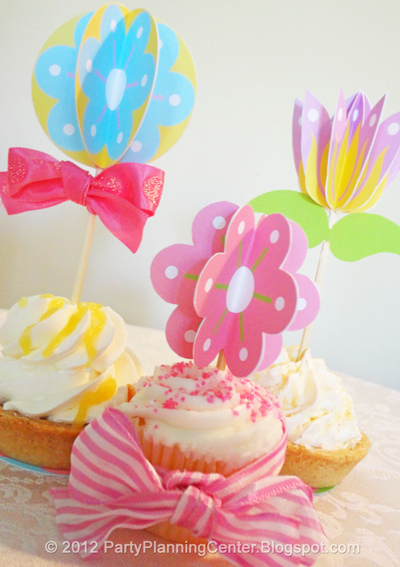 4 Images of Flower Cupcake Toppers Printable