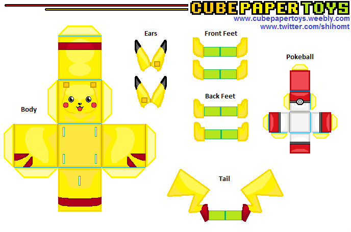 6 best images of 3d printable pokemon paper crafts for Pokemon templates print