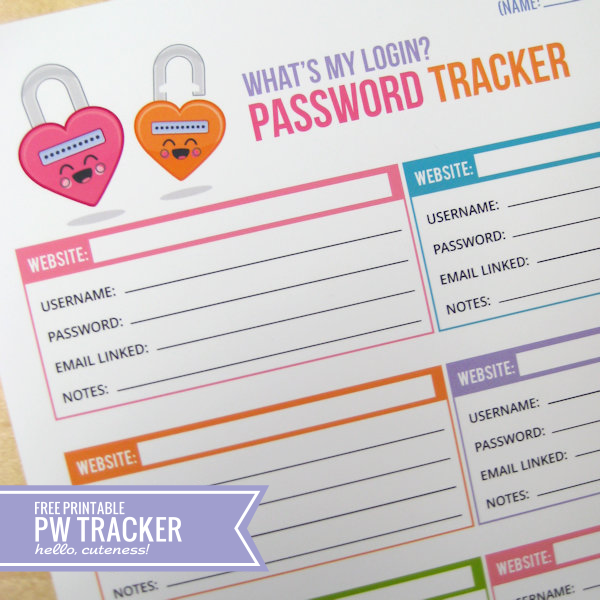 6 Images of Free Printable Password Tracker