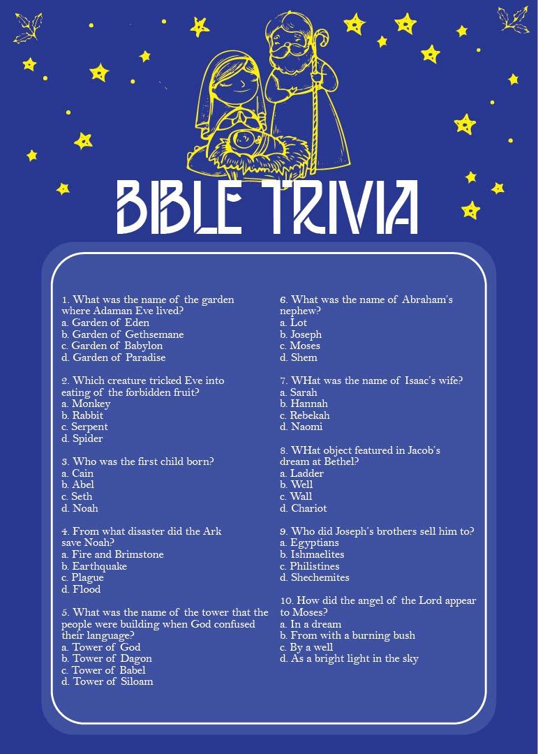 Printable Bible Trivia Questions