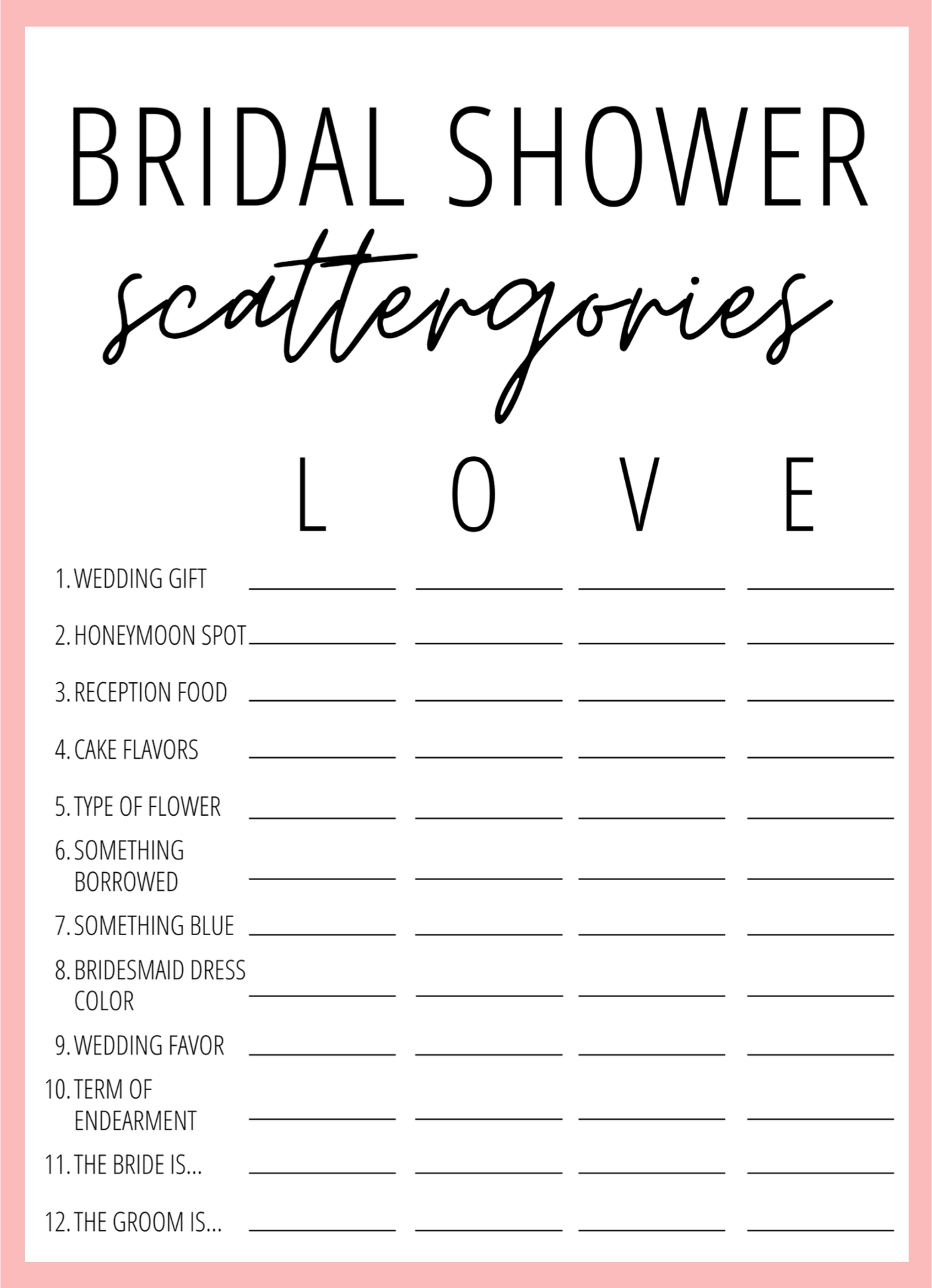 Printable Bridal Shower Scattergories Game