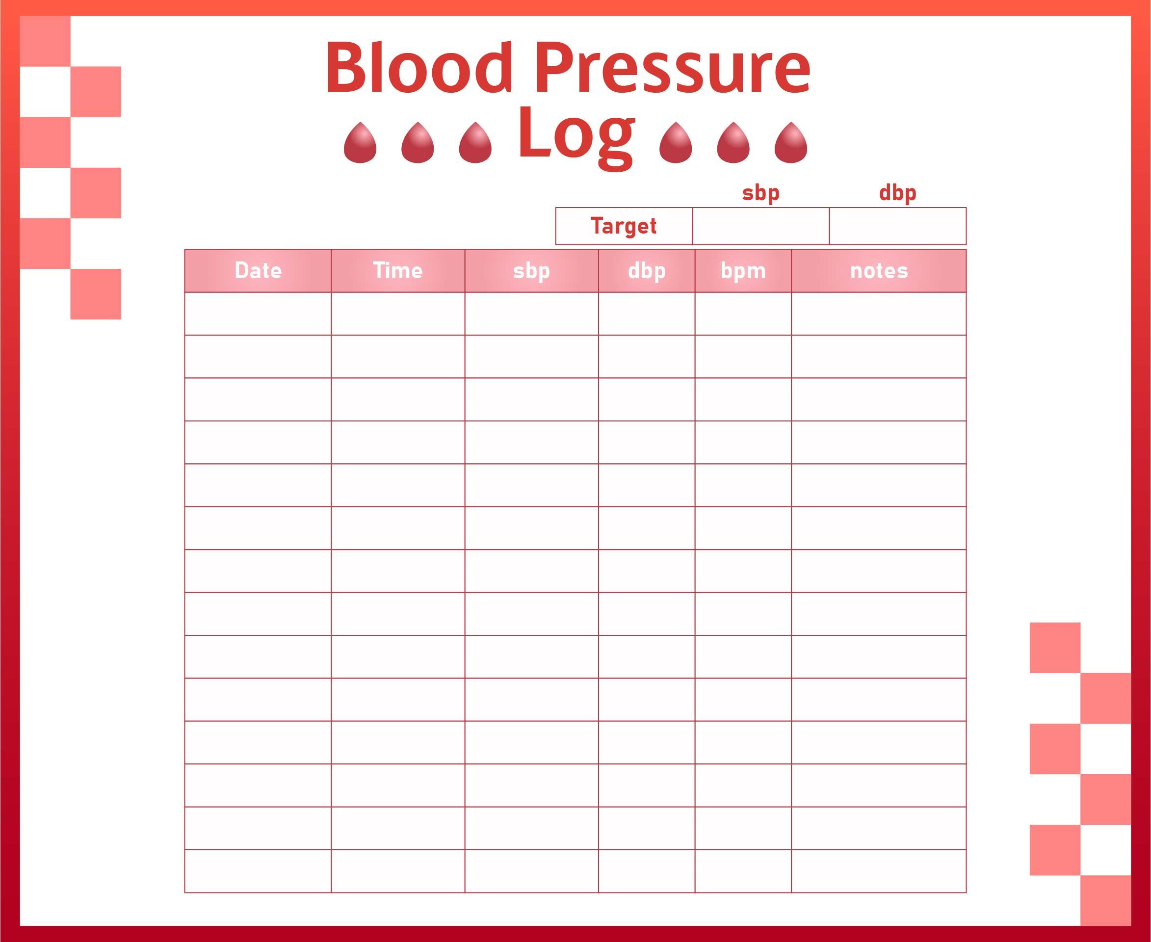 7 best images of blood pressure log pdf printable