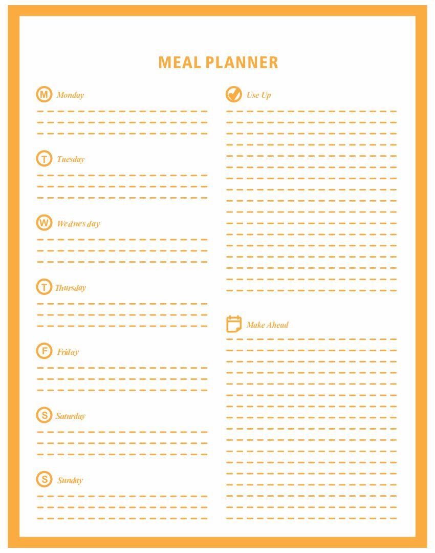 Printable Meal Planner Worksheet