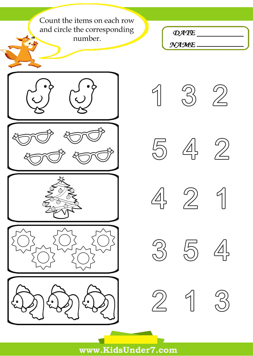 4 Images of Free Printable Preschool Number Counting Worksheets