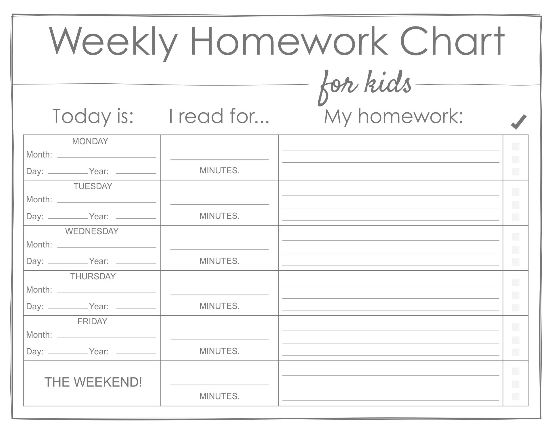 Printable Weekly Homework Charts