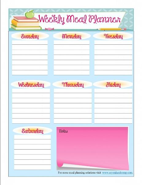 Printable Weekly Menu Planner Template