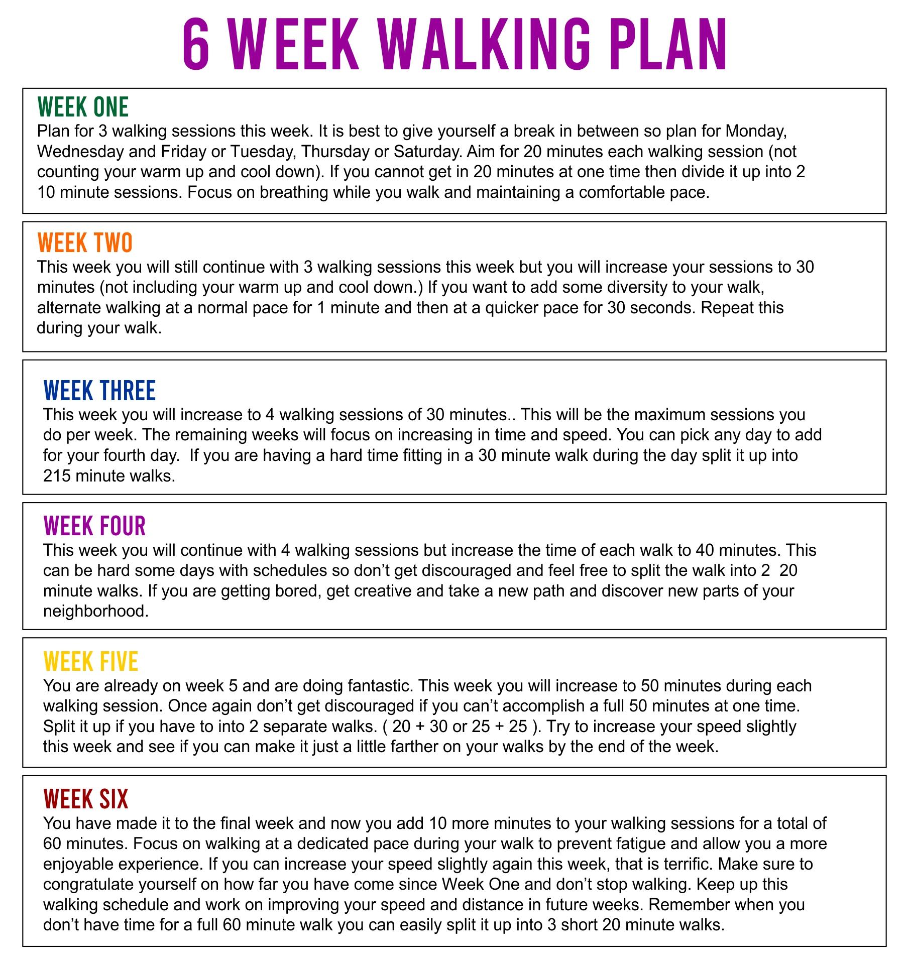 Printable Weight Loss Walking