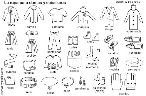 ... Flash Cards Printables for Kids, Spanish Clothing Vocabulary Worksheet