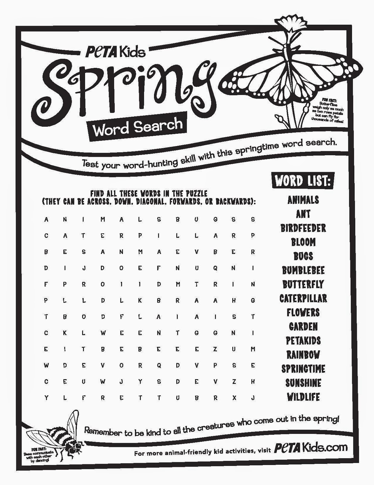 6 Images of Spring Word Search Printable