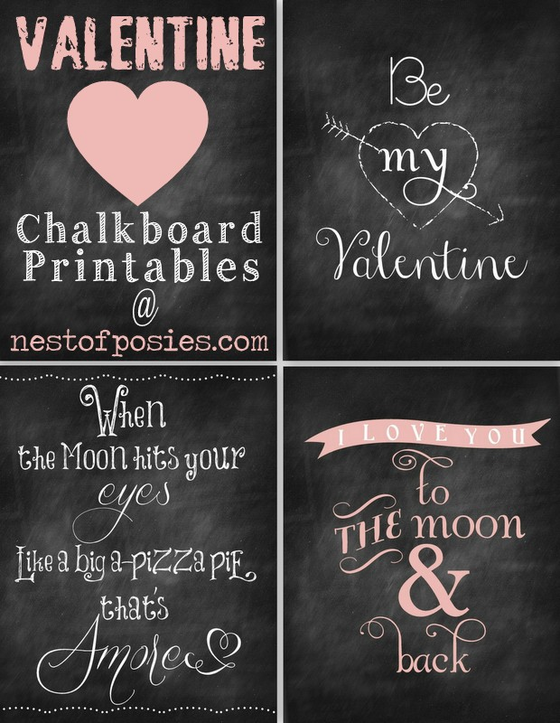 7 Images of Free Valentine Chalkboard Printables