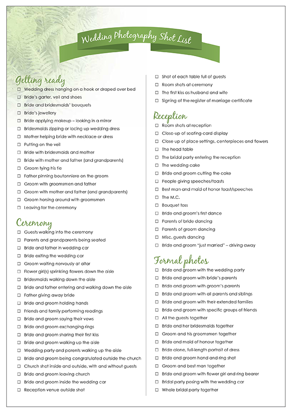 5 Best Images Of List Wedding Day Checklist Printable