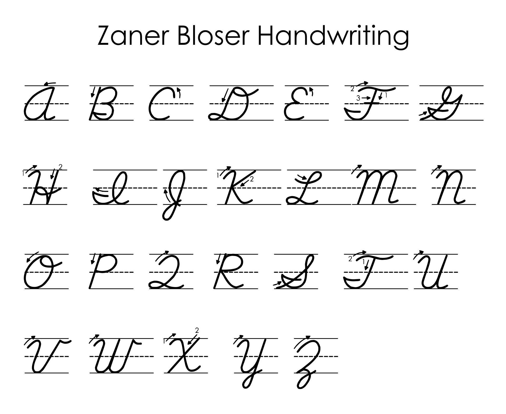 8 Images of Zaner-Bloser Manuscript Alphabet Printable