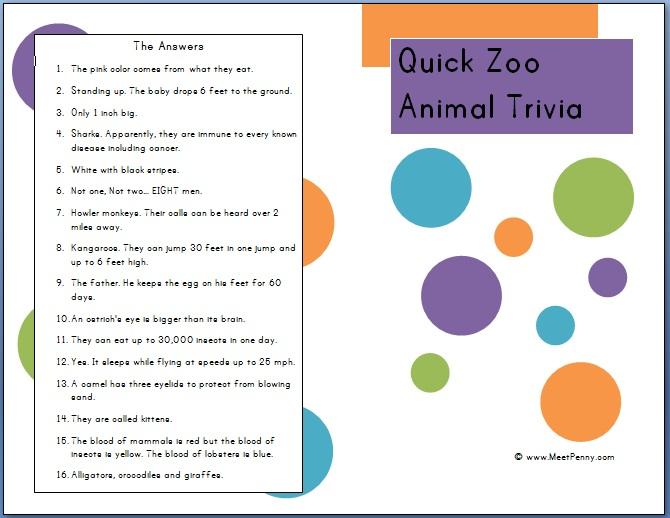 Zoo Field Trip Printables