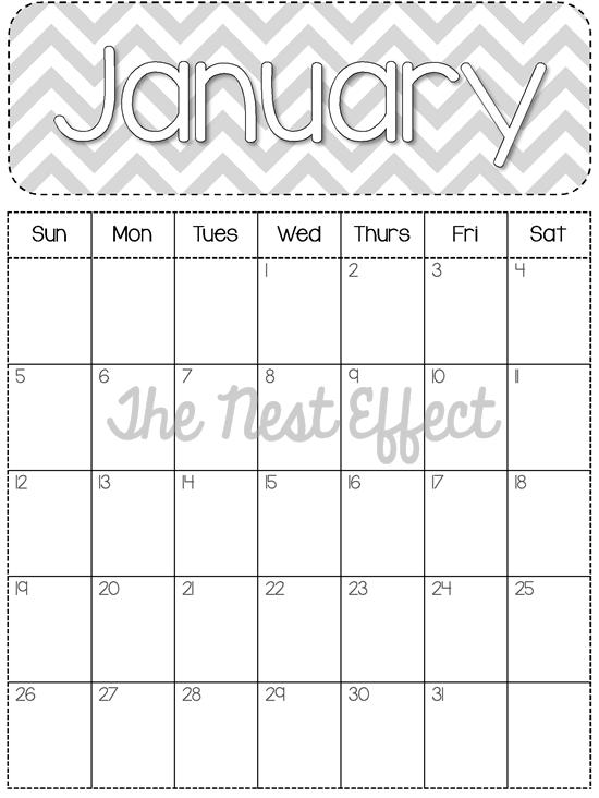 2014 Monthly Calendar Free Printables