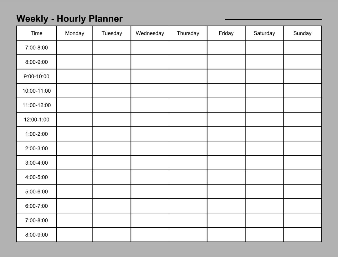 24 Hour Daily Planner Template
